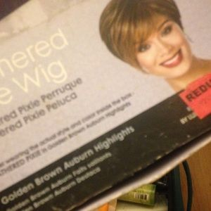 Pixie wig golden brown +auburn highlights $60